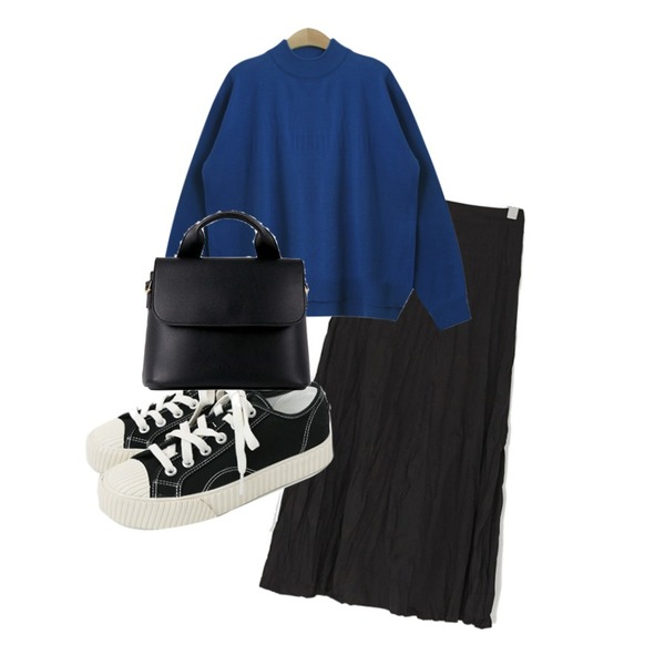 TODAY ME [knit]클로디 니트,BANHARU girlish crease long skirt,daily monday Simple every day sneakers등을 매치한 코디