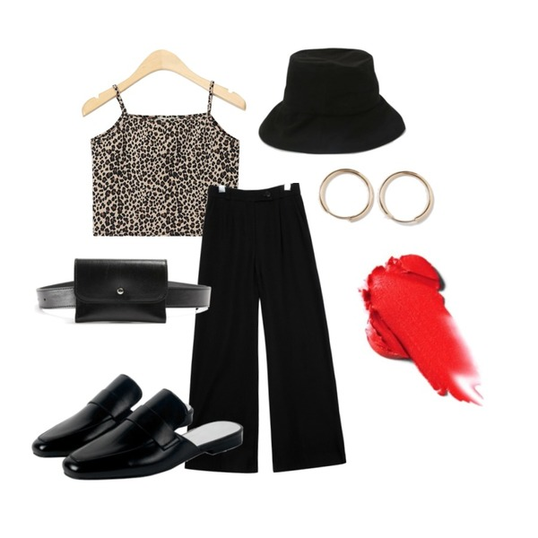 Monobabie [RL2219] 베이델1.5cm,common unique [BOTTOM] MANNISH SET-UP BANDING SLACKS,AIN leopard crop sleeveless등을 매치한 코디