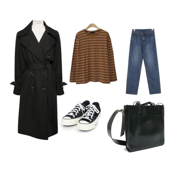 AIN fancy straight denim pants (s, m, l),ENVYLOOK 핑거칩단가라티셔츠,common unique [OUTER] HIGH QUALITY DOUBLE TRENCH COAT등을 매치한 코디