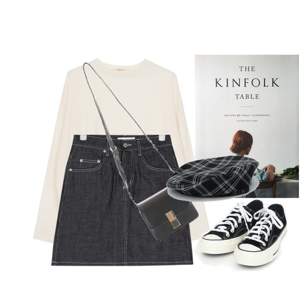 AIN coloring canvas sneakers (225-250),AIN cami denim skirt (s, m),biznshoe Tension color tee (6colors)등을 매치한 코디