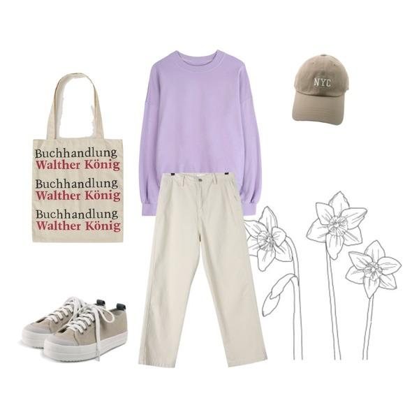 Untitled,daily monday Natural mood cotton pants,GIRLS RULE 벌룬 컬러풀 맨투맨 (t5282)등을 매치한 코디