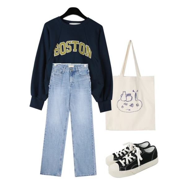 daily monday Unique cup drawing bag,daily monday Boston words cropped mtm,AIN canoe semi boots cut pants (s, m)등을 매치한 코디