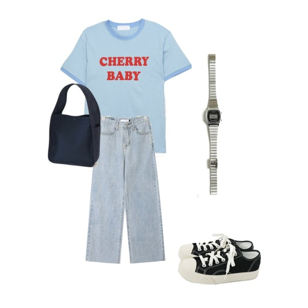 daily monday Simple every day sneakers,AIN wing straight denim pants (s, m, l),MIXXMIX 체리 티셔츠등을 매치한 코디