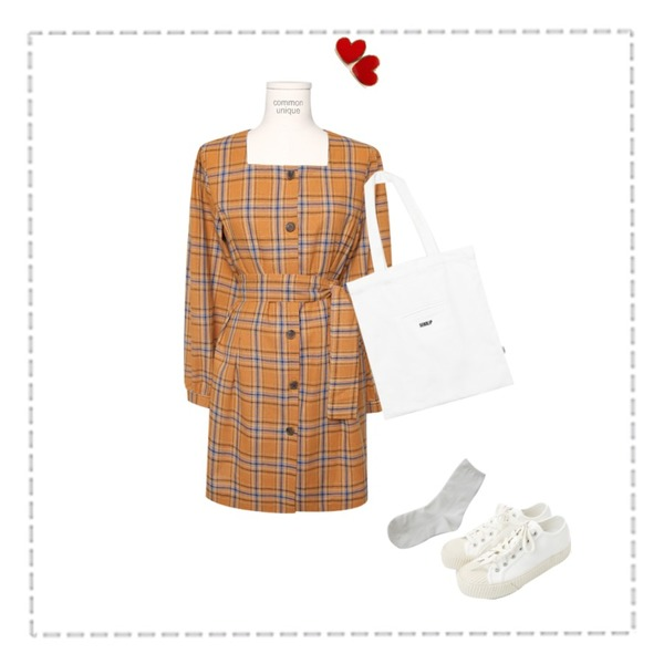Untitled,From Beginning Solid heart earring_M (size : one),common unique [OPS] TARTAN CHECK PINTUCK STRAP MINI OPS등을 매치한 코디