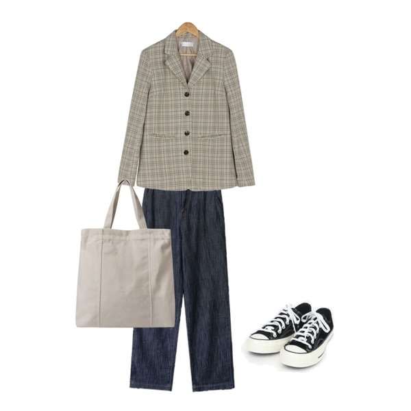BANHARU 4-button check jacket,AIN coloring canvas sneakers (225-250),AIN muse straight pants (xs-xl)등을 매치한 코디