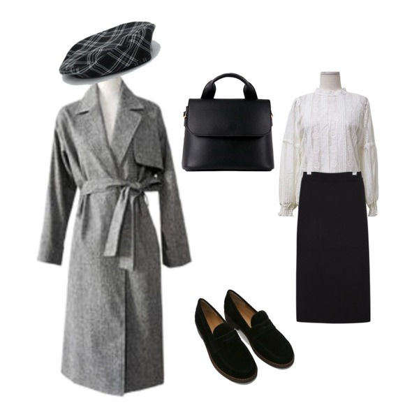 daily monday Solid suede loafer,ENVYLOOK [22XX]모먼트박시트렌치,daily monday Reversible color check beret등을 매치한 코디