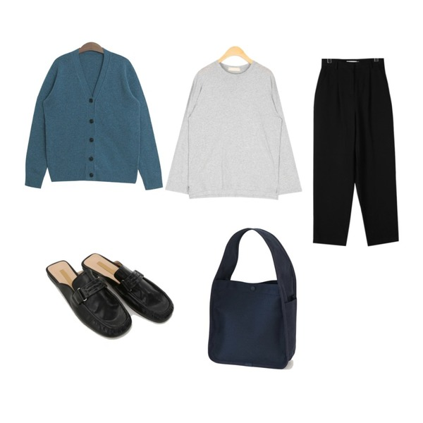 daily monday Loose cotton wide pants,TODAY ME 퓨렙 가디건,AIN various daily long sleeve T등을 매치한 코디