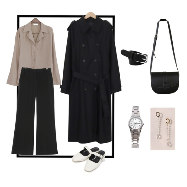tangle frame,common unique [JEWELRY] CRYSTAL BALL DROP EARRING,From Beginning Moment boxy trench coat_B (size : free)등을 매치한 코디