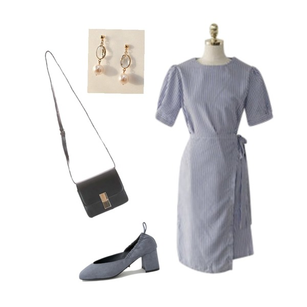 ENVYLOOK [22XX]라인랩원피스,common unique [JEWELRY] CLEAR CRYSTAL PEARL EARRING,LOVELY SHOES 디보크 미들힐 펌프스 6cm등을 매치한 코디