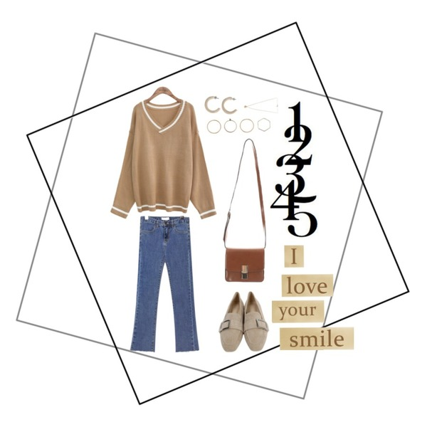 common unique [TOP] TINY V NECK KNIT,From Beginning Wide buckle suede loafer_K (size : 230,235,240,245,250),common unique [BOTTOM] HOLD SEMI BOOTS DENIM PANTS등을 매치한 코디