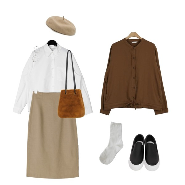about moon 프링글 베이직 자켓 (3 color),BANHARU slit point slim long skirt,daily monday Tidy silhouette cotton shirt등을 매치한 코디