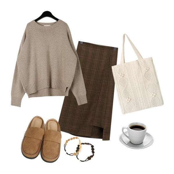 TODAY ME 라노 슈즈,daily monday Round neck wool knit,From Beginning Window check midi skirt_K (size : free)등을 매치한 코디