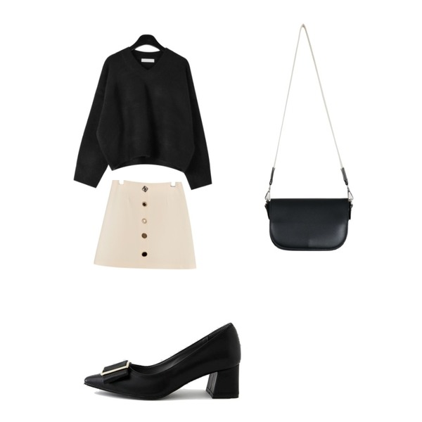 LOVELY SHOES [자체제작] 리븐 미들힐 펌프스 5.5cm,daily monday Snug crop v-neck knit,common unique [SKIRT] LUX JEWELRY BUTTON MINI SKIRT등을 매치한 코디
