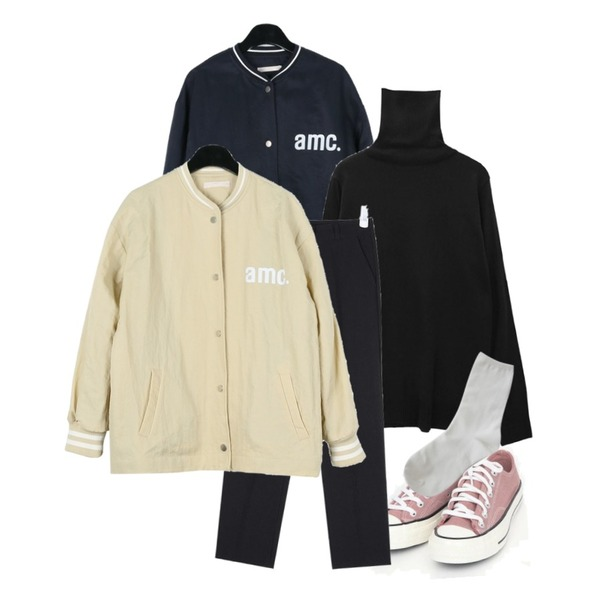 common unique [TOP] 9 COLOR TURTLE NECK KNIT,daily monday Cozy casual baseball jumper,AIN coloring canvas sneakers (225-250)등을 매치한 코디