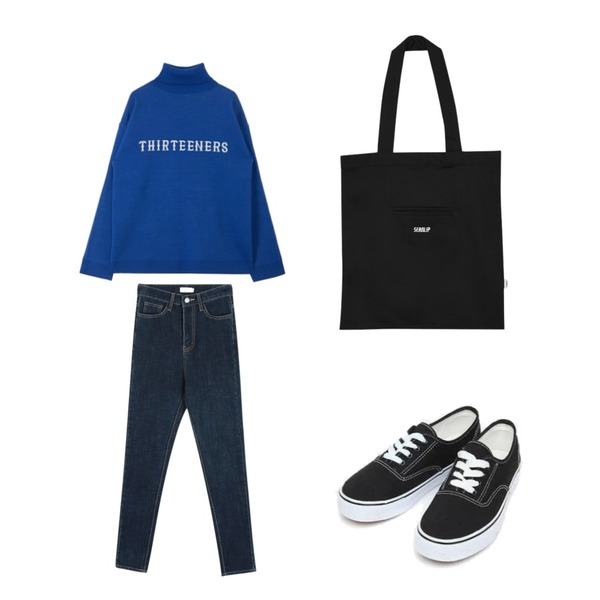 daily monday Stick denim skinny,MIXXMIX High Neck Point Knit,AIN daily casual sneakers (230-250)등을 매치한 코디