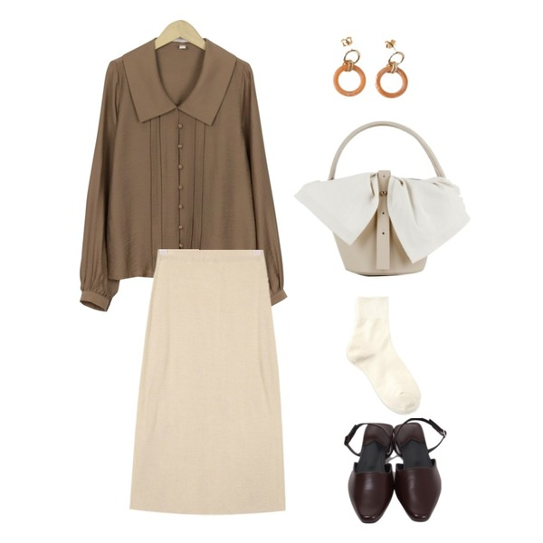 AIN thin knit long skirt,From Beginning Wide collar cong blouse_S (size : free),From Beginning Warm color sling-back shoes_B (size : 230,235,240,245,250)등을 매치한 코디
