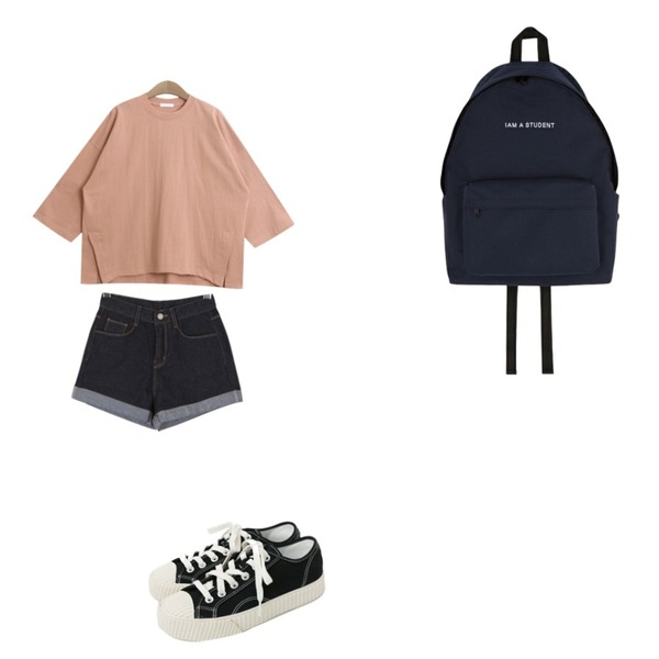 TODAY ME [tee]픽미 무지티,BULLANG GIRL 애플힙P,daily monday Simple every day sneakers등을 매치한 코디