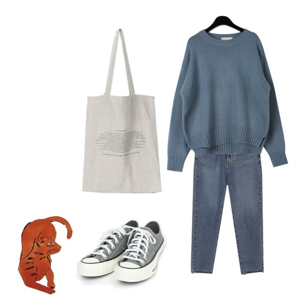 AWAB 하이반배기언발팬츠,AIN coloring canvas sneakers (225-250),daily monday Round neck wool knit등을 매치한 코디