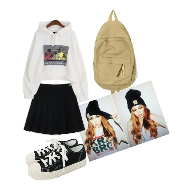 hat,AIN crayon diverse backpack,From Beginning Sweet pleats culottes skirt_M (size : S,M,L)등을 매치한 코디