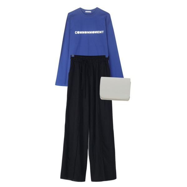 From Beginning Enamel mini two-way bag_H (size : one),BANHARU unique string detail wide pants,GIRLS RULE 모먼트 컬러 레터링 티셔츠 (t5200)등을 매치한 코디