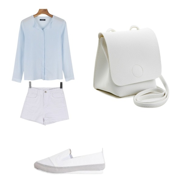 daily monday Daily round wrinkle blouse,LOVELY SHOES 이브론 시트 슬립온 1.5cm,BULLANG GIRL 시크폭스베이직P등을 매치한 코디