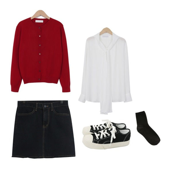 From Beginning Beads button round cardigan_M (size : free),TODAY ME 셀비 미니 스커트,From Beginning Dress tie neck blouse_B (size : free)등을 매치한 코디