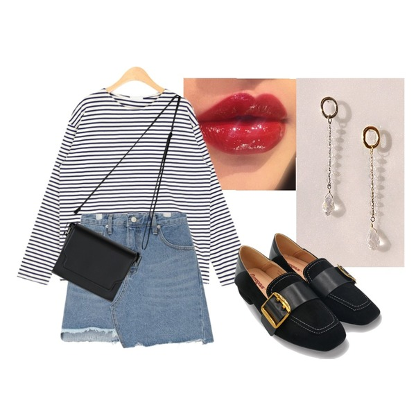 AIN elbow patch stripe T,lipstick,common unique [JEWELRY] CRYSTAL BALL DROP EARRING등을 매치한 코디