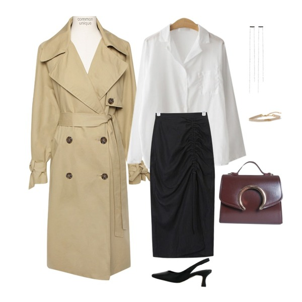 AIN side shirring slit skirt (s, m),ENVYLOOK 깔루아셔츠,common unique [OUTER] HIGH QUALITY DOUBLE TRENCH COAT등을 매치한 코디