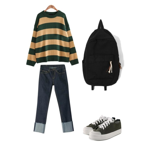 BANHARU cutting roll-up straight jean,ROCOSIX daily chunky sneakers,common unique [TOP] BOLD STRIPE ROUND NECK KNIT등을 매치한 코디