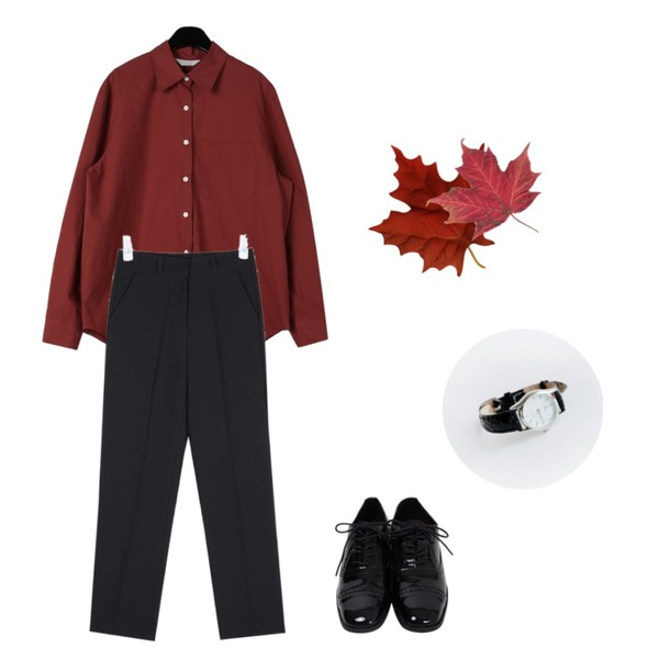 daily monday Tidy silhouette cotton shirt,From Beginning Addition oxford shoes_K (size : 225,230,235,240,245,250),AIN sense straight basic slacks (s, m)등을 매치한 코디
