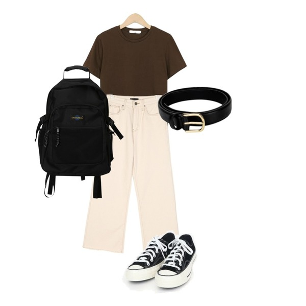From Beginning Day-by-day half T_S (size : free),openthedoor gold simple belt (3 color),AIN cozy beige cotton pants (s, m, l)등을 매치한 코디