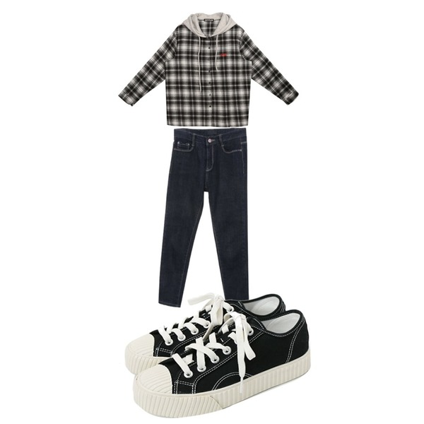 Zemma World Voice-일자스키니팬츠[size:S,M,L / 1color],daily monday Simple every day sneakers,MIXXMIX Logo Hoodie Check Shirt등을 매치한 코디