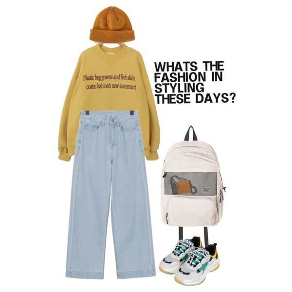 Untitled,common unique [TOP] PLASTIC HALF NECK NAPPING MTM (추석 지나고),From Beginning Cold wide denim pants_S (size : S,M,L)등을 매치한 코디