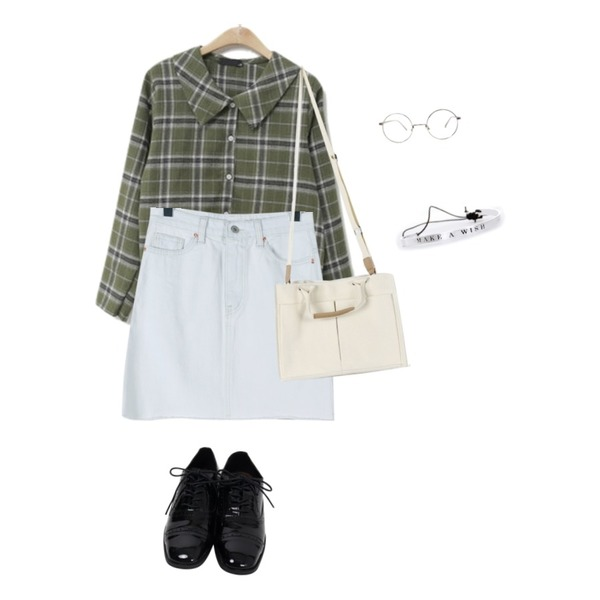 daily monday Ice color denim mini skirt,ENVYLOOK [22XX]바바체크블라우스,From Beginning Addition oxford shoes_K (size : 225,230,235,240,245,250)등을 매치한 코디