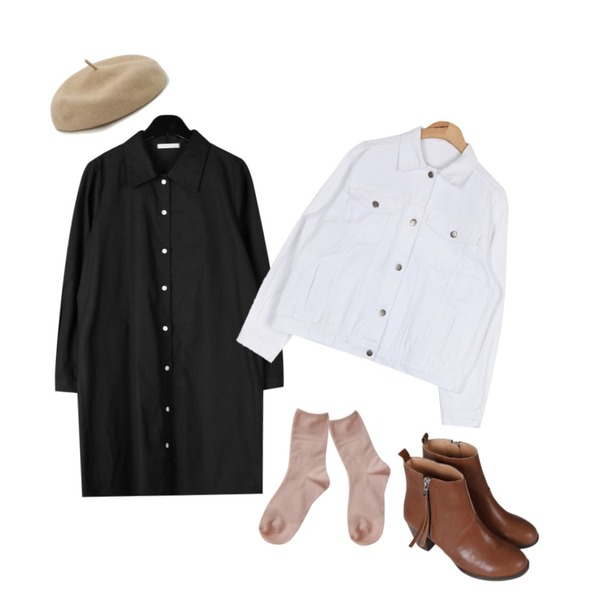 AIN daily standard cotton jacket (4 colors),daily monday Normal wool beret,daily monday Cotton shirts mini one-piece등을 매치한 코디