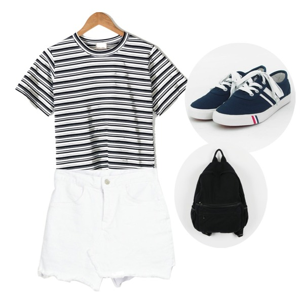 TODAY ME [shoes]컬러뷰 슈즈,BANHARU natural fit daily stripe tee,MIXXMIX 502 스커트등을 매치한 코디