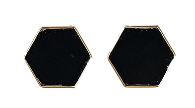minimal hexagon earring