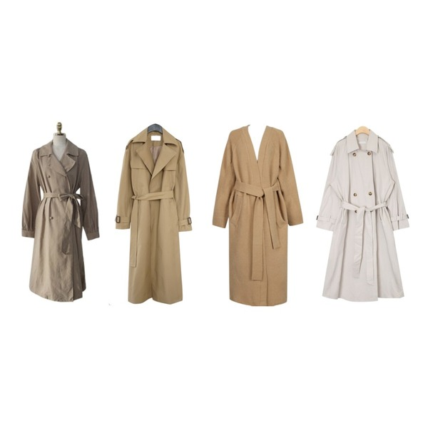 From Beginning Boucle long knit coat_H (size : free),AFTERMONDAY deep slit trench coat (2colors),ENVYLOOK [22XX]콩닥콩트렌치코트등을 매치한 코디