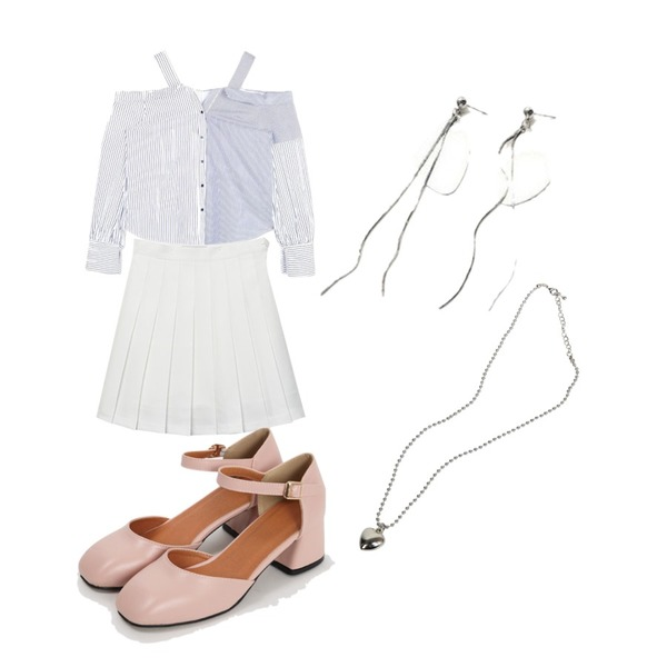 From Beginning Ankle strap middle heel_M (size : 225,230,235,240,245,250),MIXXMIX 테니스 스커트 팬츠 (롱),openthedoor stripe off shouler blouse (2 color)등을 매치한 코디
