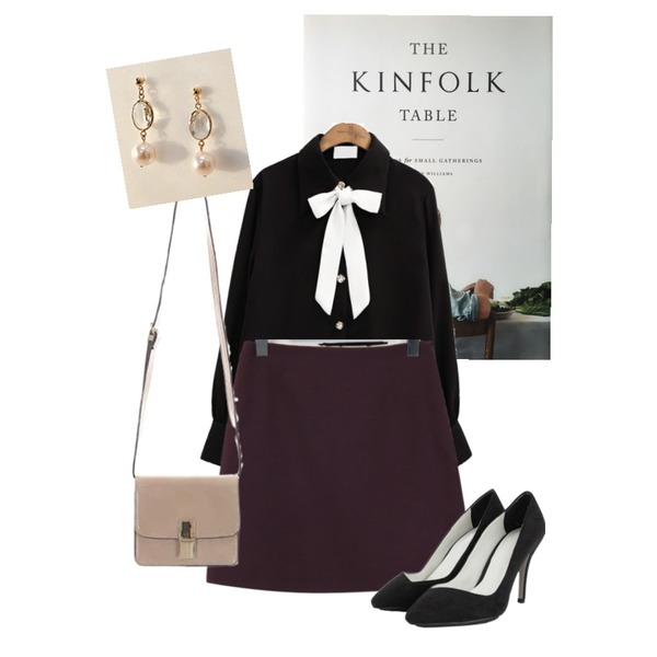 kinfolk table,common unique [TOP] JEWELRY BUTTON TIE CHIFFON BLOUSE,From Beginning Usually basic mini skirt_K (size : S,M)등을 매치한 코디