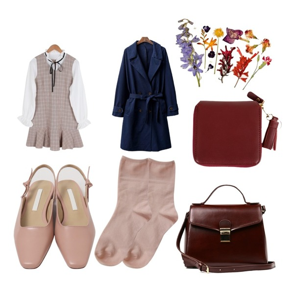 From Beginning Ribbon belt sling-back shoes_H (size : 230,235,240,245,250),Zemma World Hygge-레이온삭스,BULLANG GIRL 여리여리체크OPS등을 매치한 코디