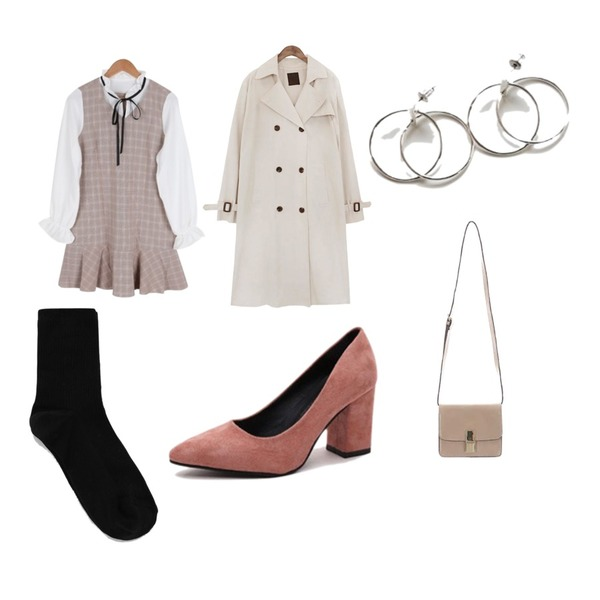 common unique [OUTER] CLASSIC CHIC TRENCH COAT,Cats Onepiece 펌프스 스웨이드 미들힐 통굽,BULLANG GIRL 여리여리체크OPS등을 매치한 코디