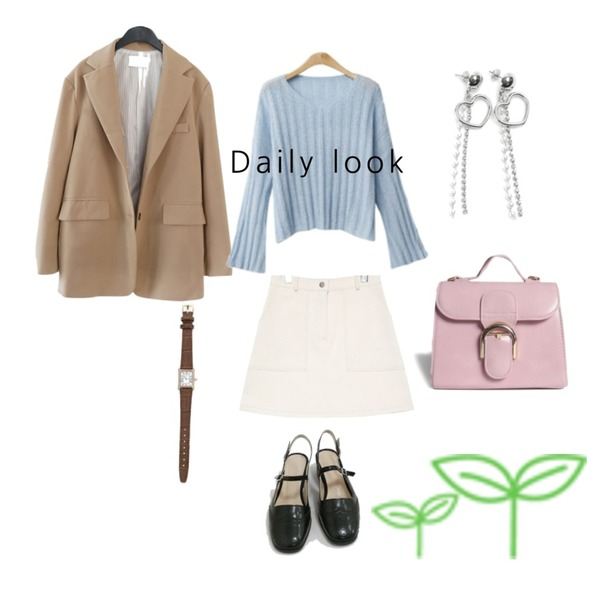 common unique [SKIRT] STITCH SET MINI SKIRT,AFTERMONDAY oversized angural outfit jacket (3colors),ENVYLOOK 폴링니트등을 매치한 코디