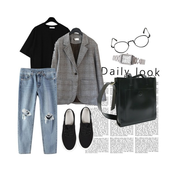 daily look,14,daily monday Sturdy simple half tee등을 매치한 코디