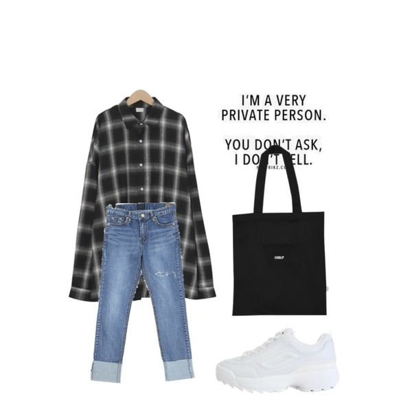 very private person,From Beginning Boy over-fit check shirts_B (size : free),ROCOSIX 메들리 데님 팬츠등을 매치한 코디
