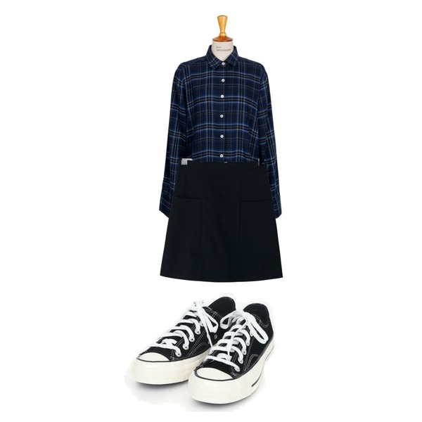 From Beginning Boy check cuffs shirts_K (size : free),AIN coloring canvas sneakers (225-250),BANHARU basic h-line pocket skirt등을 매치한 코디