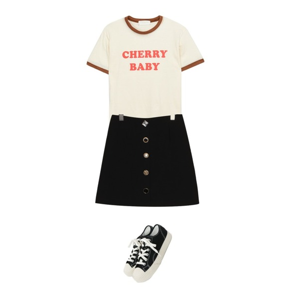 daily monday Simple every day sneakers,MIXXMIX 체리 티셔츠,common unique [SKIRT] LUX JEWELRY BUTTON MINI SKIRT등을 매치한 코디