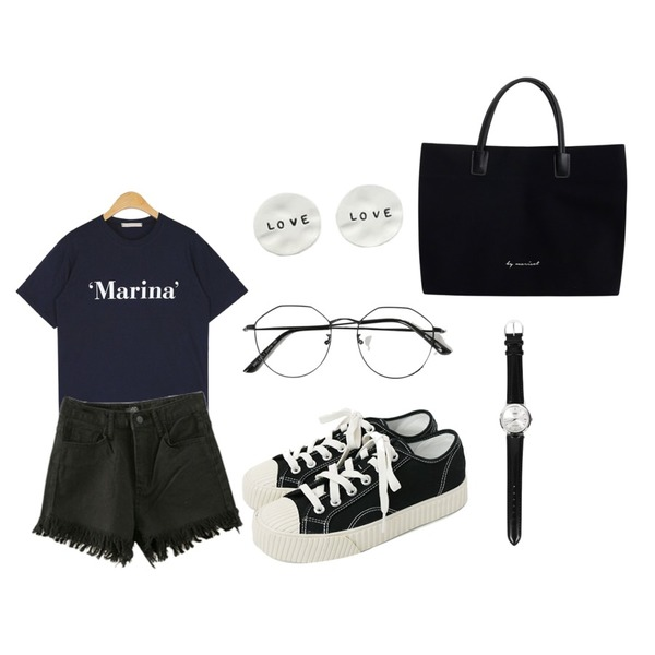 daily monday Simple every day sneakers,ENVYLOOK [22XX]블링프린징쇼츠,AIN marina daily T등을 매치한 코디