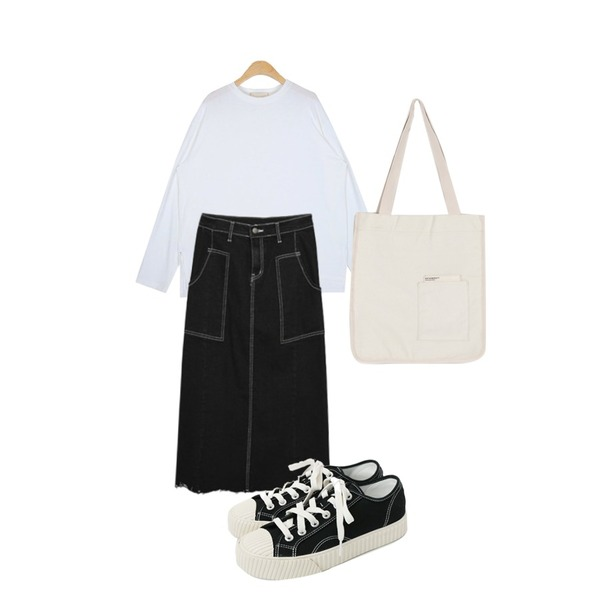 daily monday Simple every day sneakers,MIXXMIX 760 스티치 롱 스커트,AIN andy boxy round T등을 매치한 코디
