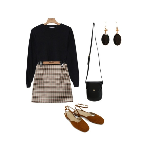 common unique [SKIRT] VINTAGE CHECK H LINE MINI SKIRT,Zemma World MA-Buttering (bag),Zemma World Orangepie-캐시미어크롭니트 (울20%,캐시미어5%)등을 매치한 코디